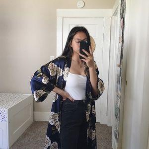 Other - Blue Silk Floral Kimono Robe